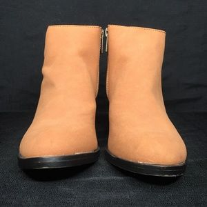 BAMBOO Tan Faux Suede Ankle Booties